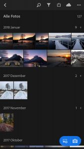 Adobe Lightroom CC mobile - Bildübersicht